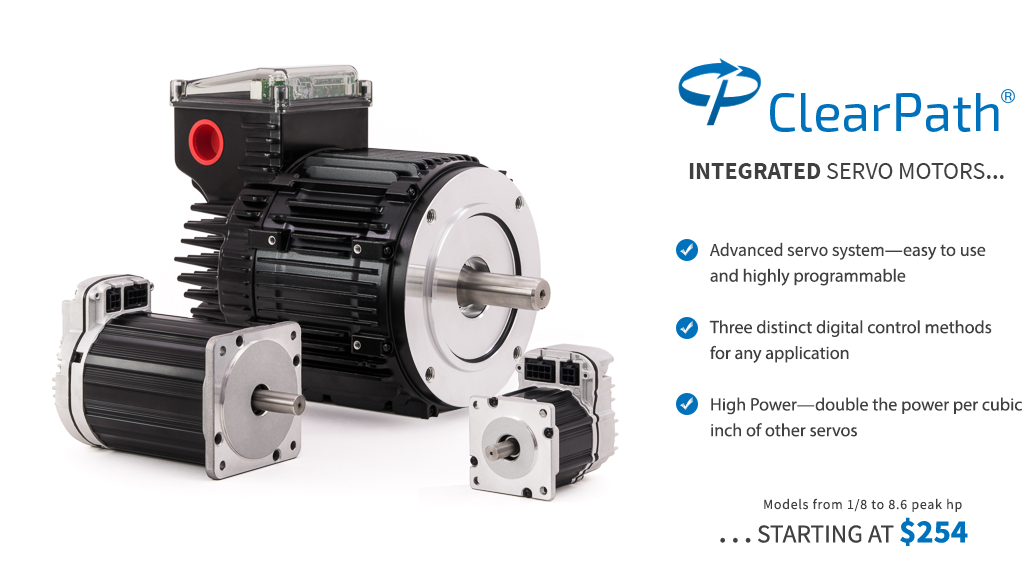 ClearPath all-in-one servo: brushless servo motor, high resolution encoder, digital servo drive, and motion controller.