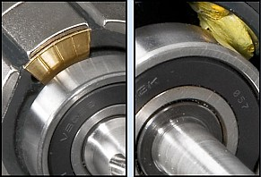 ClearPath motor's custom, brass balancing weights (left) are more precise and secure than balancing putty (right)