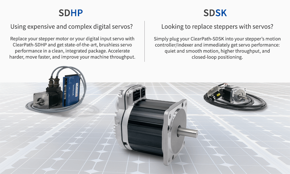ClearPath Step and Direction replaces both noisy, low performance steppers and expensive, complicated digital servos