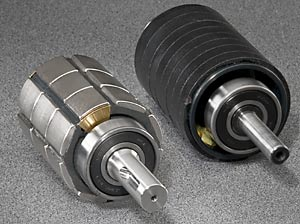 Hudson servo motors' rare-earth permanent NdFeB magnets provide about 4 times the power of same sized AC induction motors