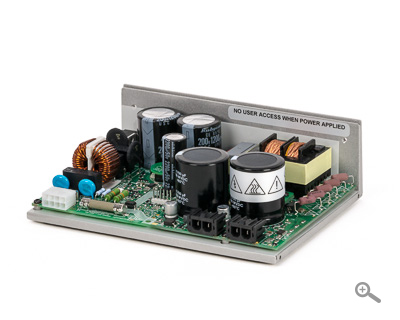 75 VDC IPC-3 power supply for stepper/servo motor drives; up to 225 Watts power, 13 Watts regen, & 53 Joules capacitance