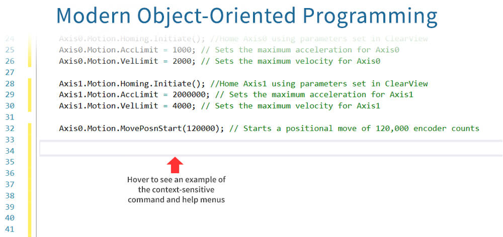 ClearPath SC Motor; C++ modern object-oriented programming example; easy coding with context-sensitive commands and help